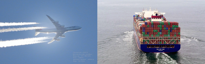 Vliegtuig en vrachtschip