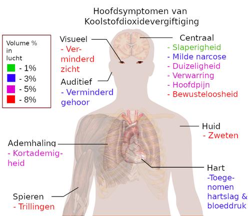 Hoofdsymptomen van koolstofdioxidevergiftiging